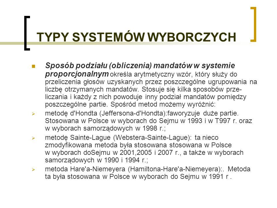 TYPY SYSTEMÓW WYBORCZYCH Sposób podziału (obliczenia) mandatów w systemie proporcjonalnym określa arytmetyczny wzór, który służy do przeliczenia głosów uzyskanych przez poszczególne ugrupowania na liczbę otrzymanych mandatów.