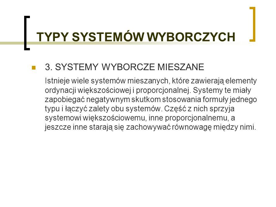 TYPY SYSTEMÓW WYBORCZYCH 3.