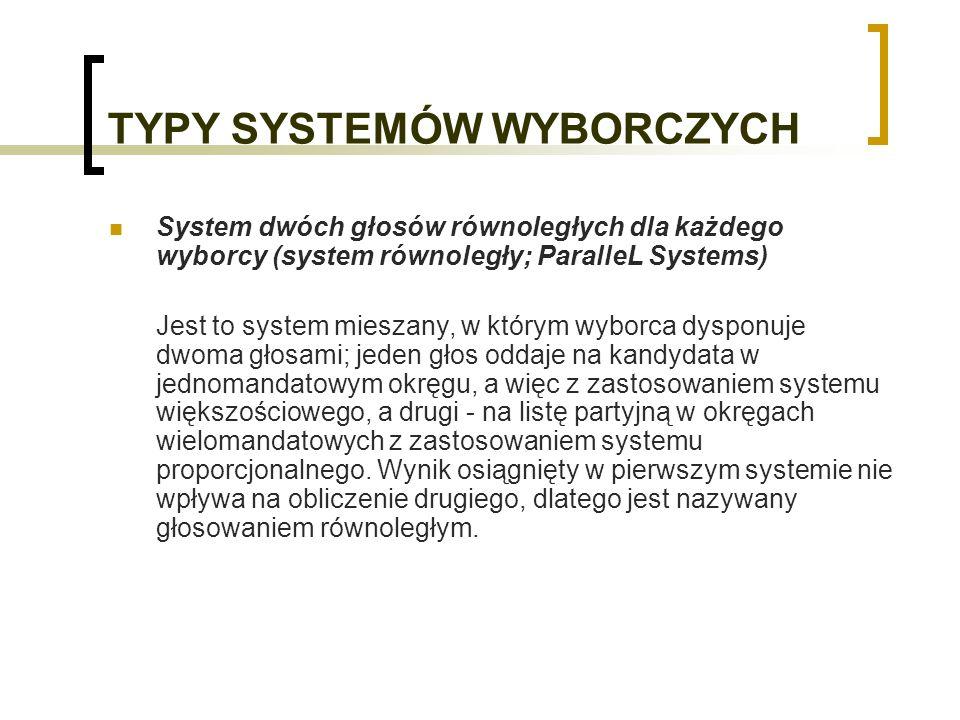 TYPY SYSTEMÓW WYBORCZYCH System dwóch głosów równoległych dla każdego wyborcy (system równoległy; ParalleL Systems) Jest to system mieszany, w którym wyborca dysponuje dwoma głosami; jeden głos oddaje na kandydata w jednomandatowym okręgu, a więc z zastosowaniem systemu większościowego, a drugi - na listę partyjną w okręgach wielomandatowych z zastosowaniem systemu proporcjonalnego.