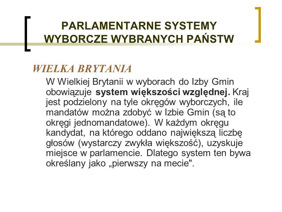 PARLAMENTARNE SYSTEMY WYBORCZE WYBRANYCH PAŃSTW WIELKA BRYTANIA W Wielkiej Brytanii w wyborach do Izby Gmin obowiązuje system większości względnej.