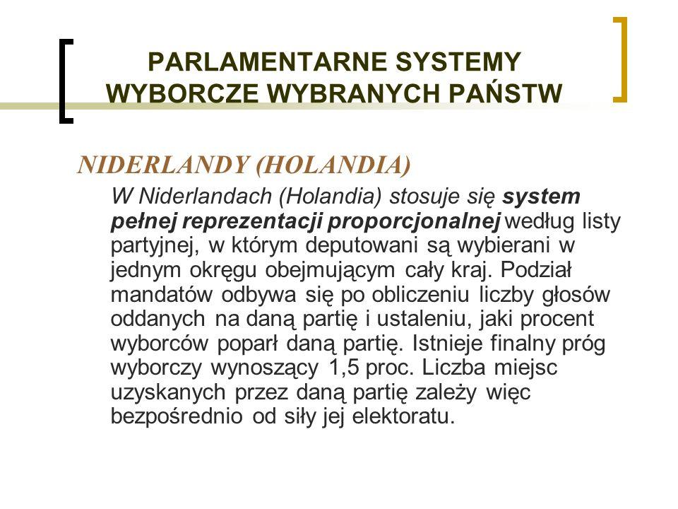 PARLAMENTARNE SYSTEMY WYBORCZE WYBRANYCH PAŃSTW NIDERLANDY (HOLANDIA) W Niderlandach (Holandia) stosuje się system pełnej reprezentacji proporcjonalnej według listy partyjnej, w którym deputowani są wybierani w jednym okręgu obejmującym cały kraj.