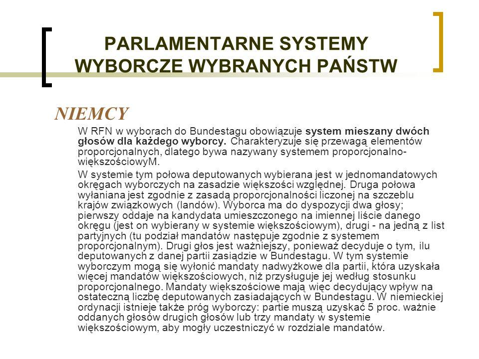 PARLAMENTARNE SYSTEMY WYBORCZE WYBRANYCH PAŃSTW NIEMCY W RFN w wyborach do Bundestagu obowiązuje system mieszany dwóch głosów dla każdego wyborcy.