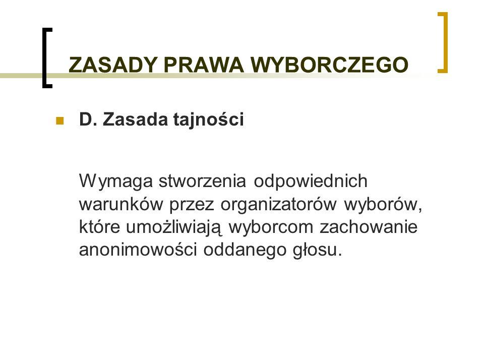 ZASADY PRAWA WYBORCZEGO D.
