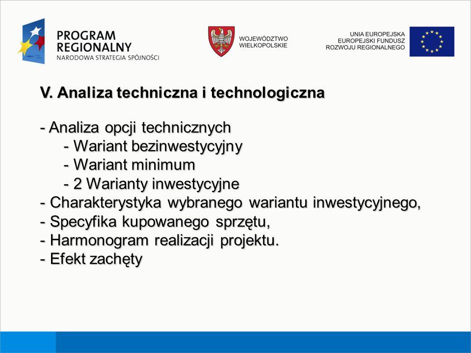 V. Analiza techniczna i technologiczna - Analiza opcji technicznych - Wariant bezinwestycyjny - Wariant minimum - 2 Warianty inwestycyjne - Charaktery