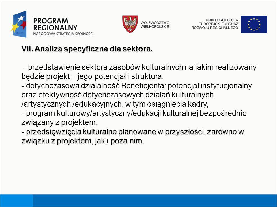 VII. Analiza specyficzna dla sektora. - przedstawienie sektora zasobów kulturalnych na jakim realizowany będzie projekt – jego potencjał i struktura,