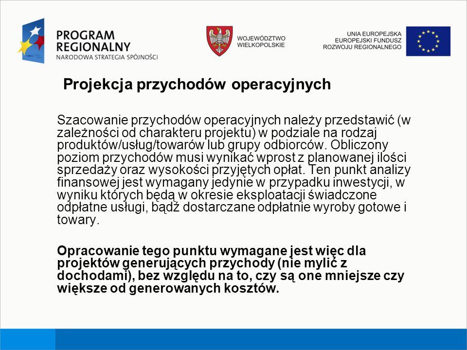 Projekcja przychodów operacyjnych Szacowanie przychodów operacyjnych należy przedstawić (w zależności od charakteru projektu) w podziale na rodzaj pro
