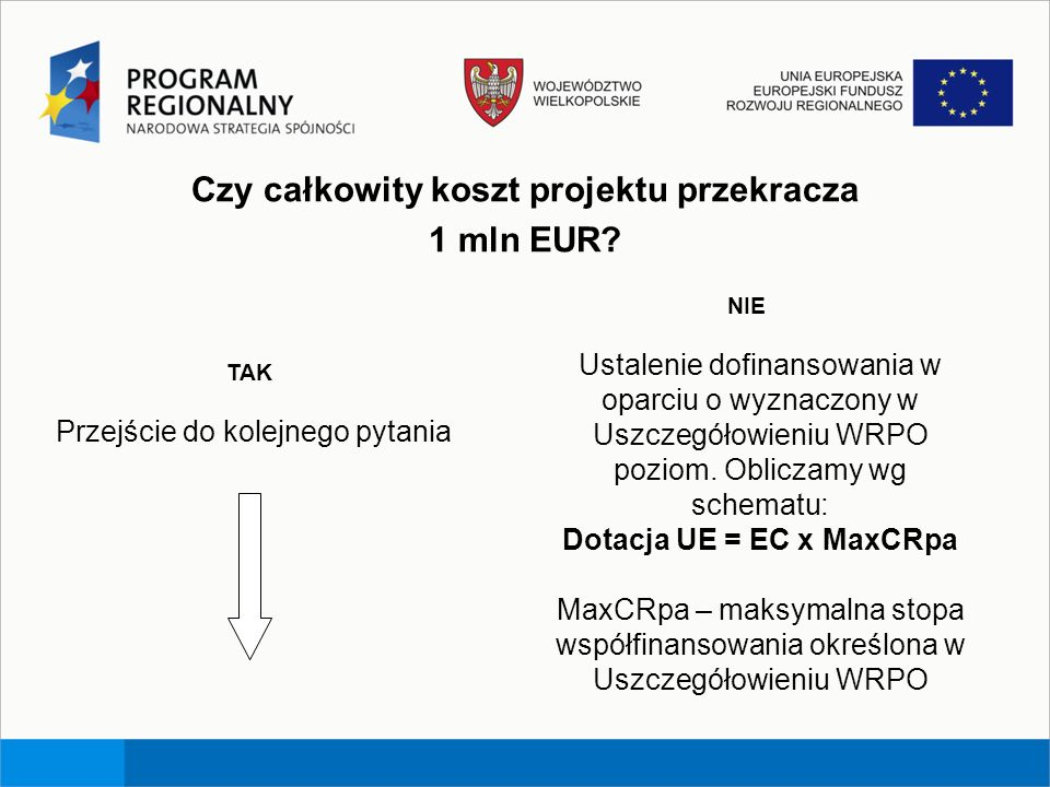 Czy całkowity koszt projektu przekracza 1 mln EUR? TAK Przejście do kolejnego pytania NIE Ustalenie dofinansowania w oparciu o wyznaczony w Uszczegóło