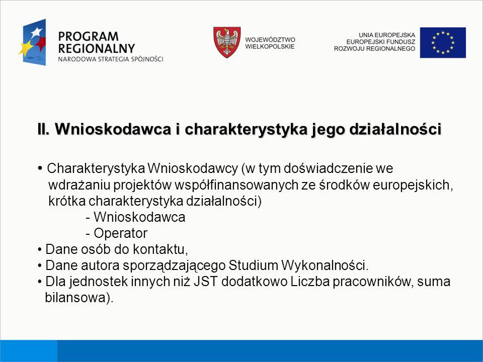 II. Wnioskodawca i charakterystyka jego działalności Charakterystyka Wnioskodawcy (w tym doświadczenie we wdrażaniu projektów współfinansowanych ze śr