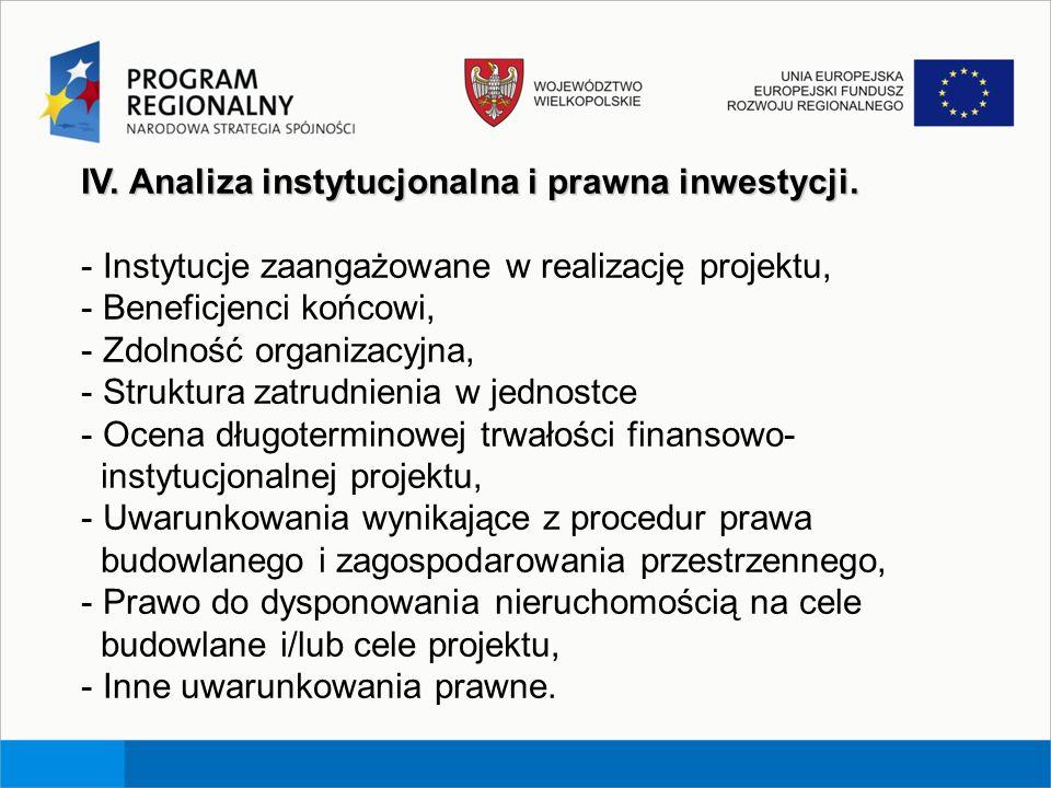 IV. Analiza instytucjonalna i prawna inwestycji. - Instytucje zaangażowane w realizację projektu, - Beneficjenci końcowi, - Zdolność organizacyjna, -