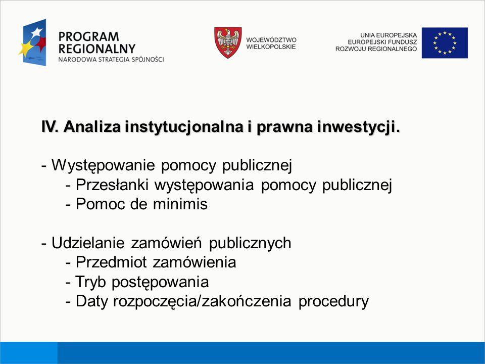 IV. Analiza instytucjonalna i prawna inwestycji. - Występowanie pomocy publicznej - Przesłanki występowania pomocy publicznej - Pomoc de minimis - Udz