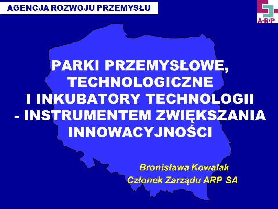 AGENCJA ROZWOJU PRZEMYSŁU PARKI PRZEMYSŁOWE, TECHNOLOGICZNE I INKUBATORY TECHNOLOGII - INSTRUMENTEM ZWIĘKSZANIA INNOWACYJNOŚCI Bronisława Kowalak Czło