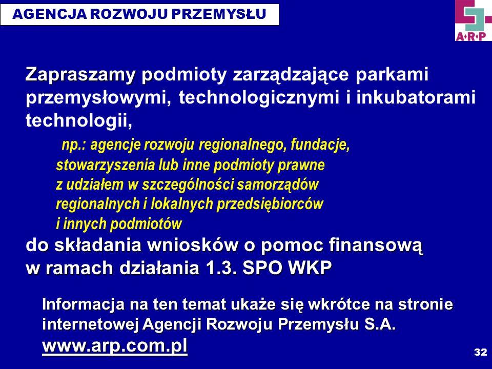 AGENCJA ROZWOJU PRZEMYSŁU 32 Zapraszamy p o składania wniosków o pomoc finansową w ramach działania 1.3. SPO WKP Zapraszamy podmioty zarządzające park