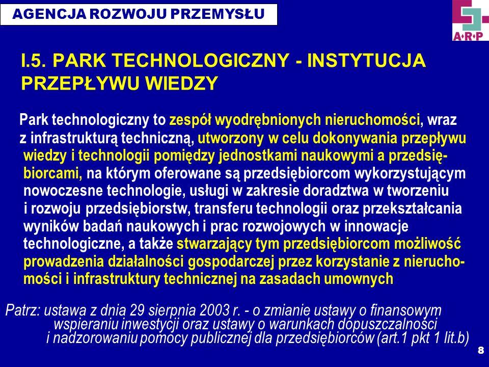 AGENCJA ROZWOJU PRZEMYSŁU 8 I.5. PARK TECHNOLOGICZNY - INSTYTUCJA PRZEPŁYWU WIEDZY Park technologiczny to zespół wyodrębnionych nieruchomości, wraz z