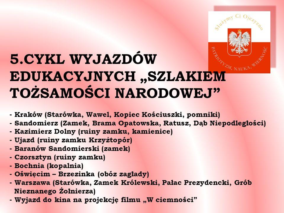 5.CYKL WYJAZDÓW EDUKACYJNYCH SZLAKIEM TOŻSAMOŚCI NARODOWEJ - Kraków (Starówka, Wawel, Kopiec Kościuszki, pomniki) - Sandomierz (Zamek, Brama Opatowska