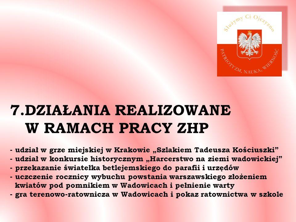 7.DZIAŁANIA REALIZOWANE W RAMACH PRACY ZHP - udział w grze miejskiej w Krakowie Szlakiem Tadeusza Kościuszki - udział w konkursie historycznym Harcers
