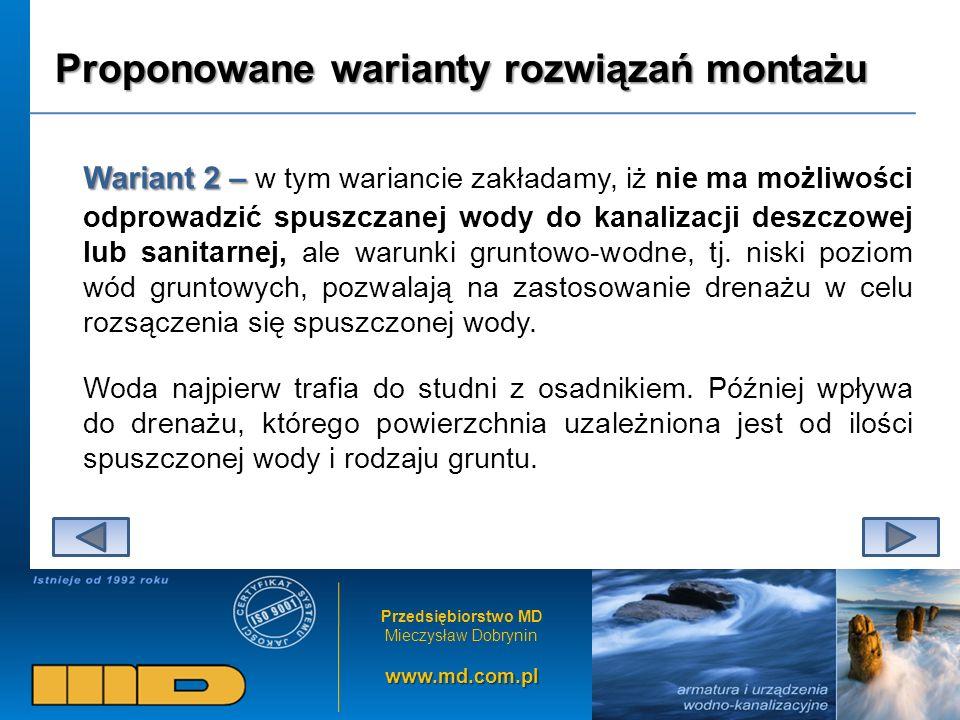 Przedsiębiorstwo MD Mieczysław Dobryninwww.md.com.pl Proponowane warianty rozwiązań montażu Wariant 2 – Wariant 2 – w tym wariancie zakładamy, iż nie ma możliwości odprowadzić spuszczanej wody do kanalizacji deszczowej lub sanitarnej, ale warunki gruntowo-wodne, tj.