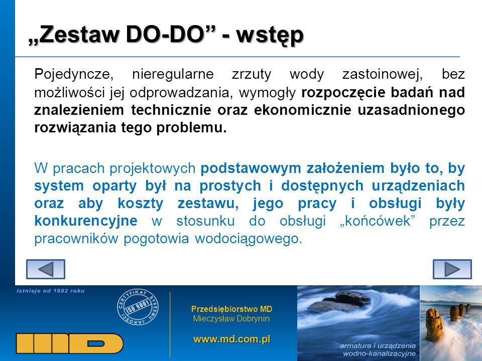 Przedsiębiorstwo MD Mieczysław Dobryninwww.md.com.pl Zestaw DO-DO - wstęp Pojedyncze, nieregularne zrzuty wody zastoinowej, bez możliwości jej odprowa