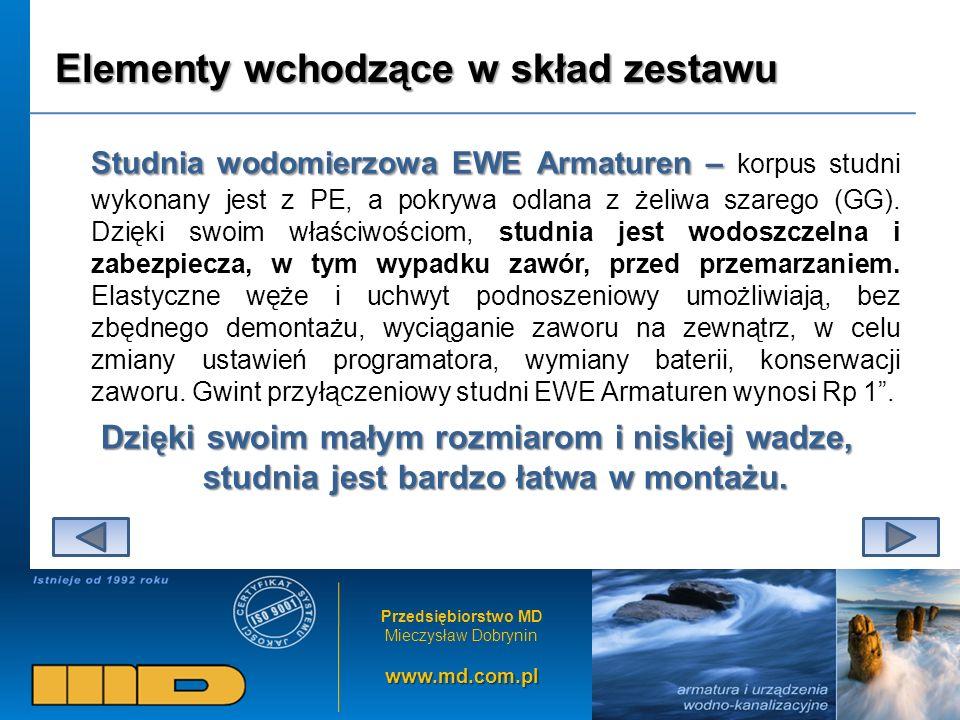 Przedsiębiorstwo MD Mieczysław Dobryninwww.md.com.pl Elementy wchodzące w skład zestawu Studnia wodomierzowa EWE Armaturen – Studnia wodomierzowa EWE Armaturen – korpus studni wykonany jest z PE, a pokrywa odlana z żeliwa szarego (GG).