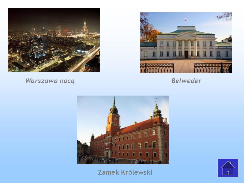 Warszawa nocą Belweder Zamek Królewski