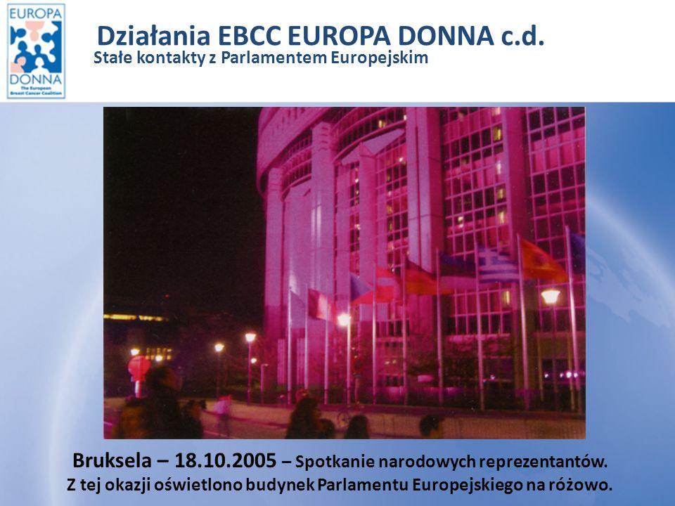 Działania EBCC EUROPA DONNA c.d.– Stałe kontakty z Parlamentem Europejskim 2006r.