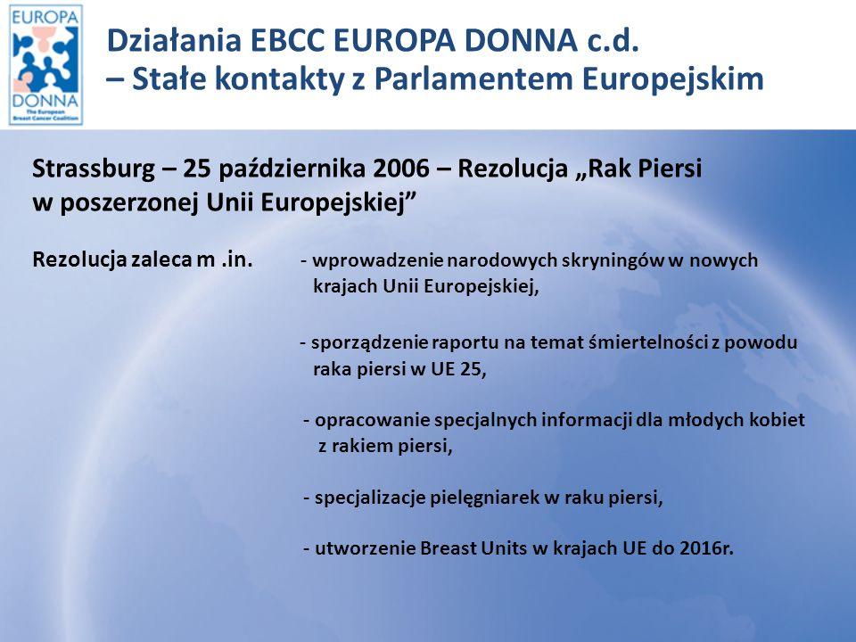2010 – Parlament Europejski przyjął Deklarację Nr 71/2009 w sprawie zwalczania raka piersi w Unii Europejskiej, opracowaną, popartą i promowaną przez EUROPA DONNA w ramach kampanii informacyjnej w PE.