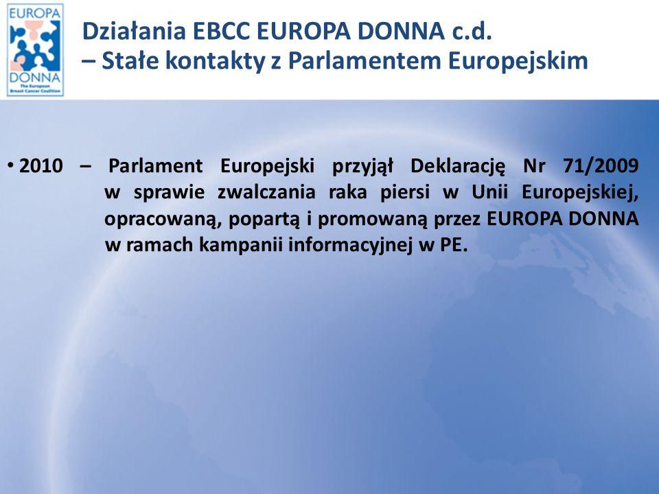 Bruksela 25 marzec 2009r – Deklaracja Nr 71/2009 Deklaracja wzywa do następujących czynności: Państwa członkowskie do wprowadzenia ogólnokrajowego badania piersi, zgodnie z wytycznymi UE.
