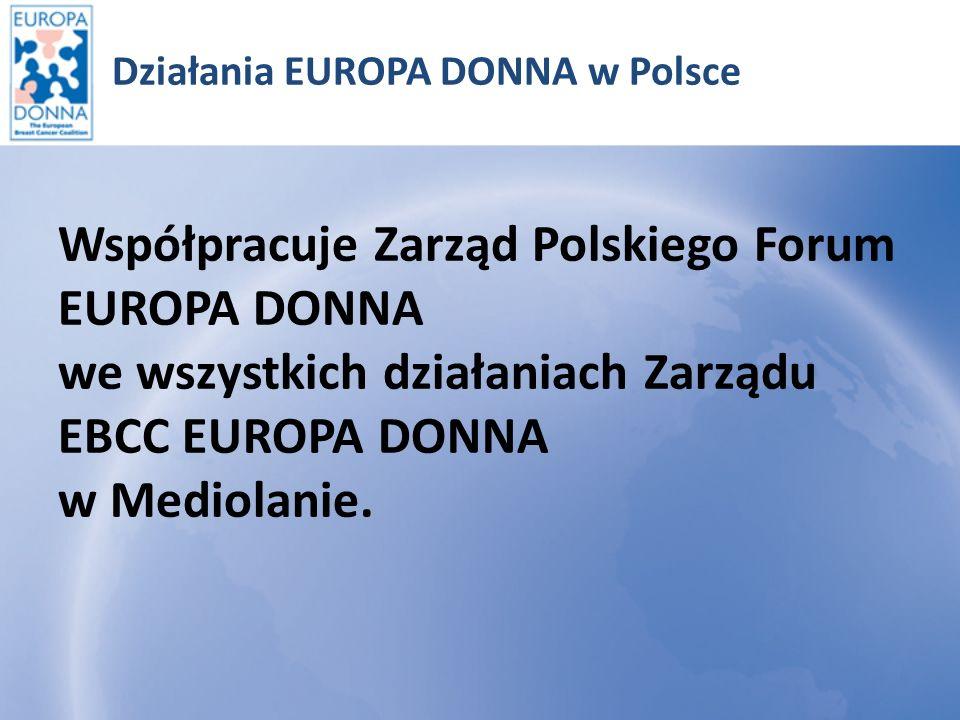 Działania EUROPA DONNA w Polsce Udział przedstawicieli Polskiego Forum EUROPA DONNA we wszystkich konferencjach organizowanych lub współorganizowanych przez Zarząd Koalicji EBCC w Mediolanie.