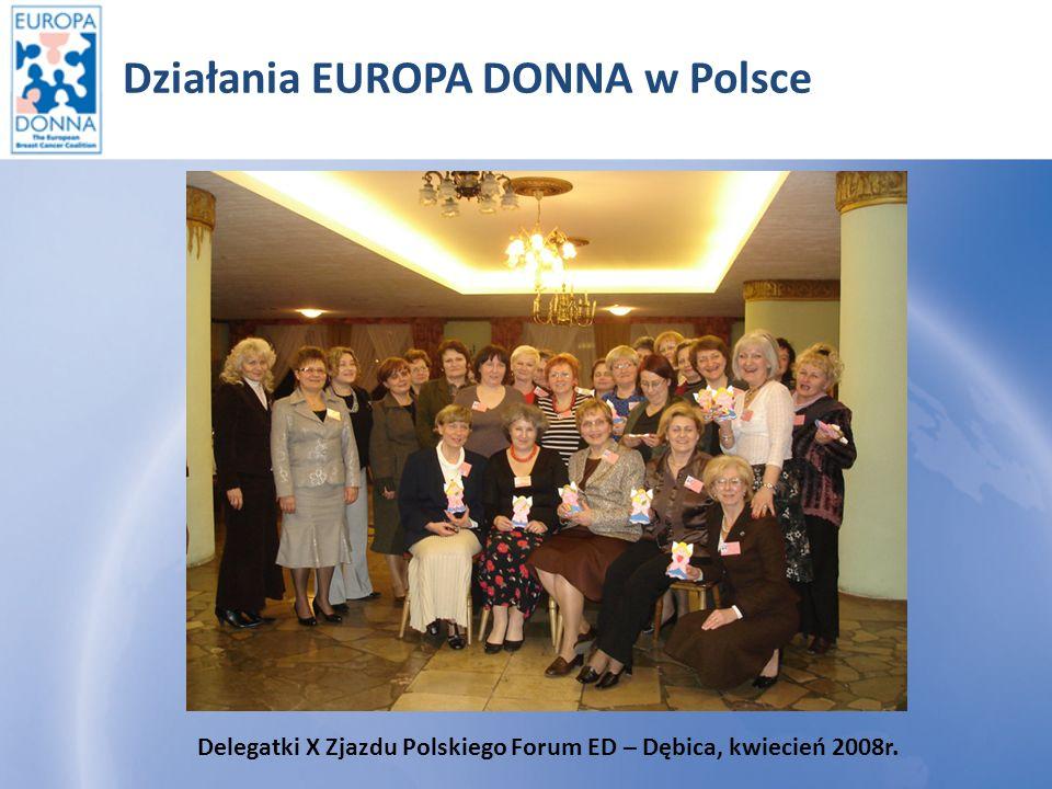 Działania EUROPA DONNA w Polsce Delegatki X Zjazdu Polskiego Forum ED – Legnica 22-24 maj 2009r.