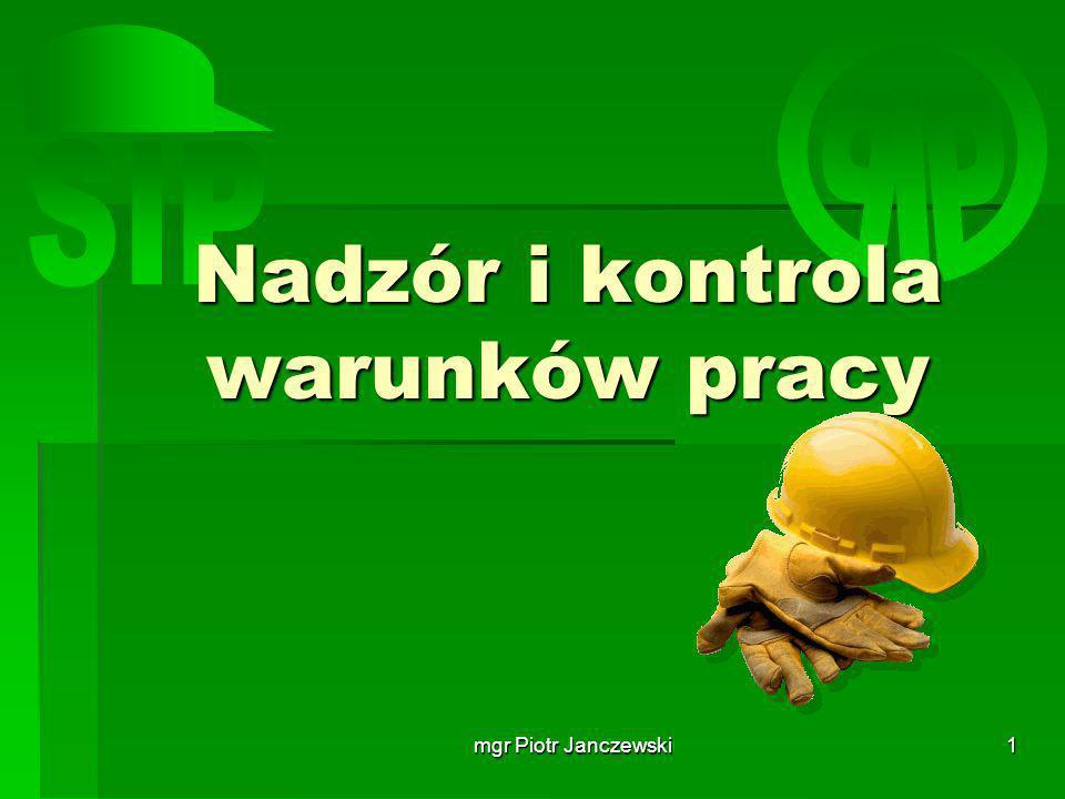 mgr Piotr Janczewski2 System ochrony pracy w Polsce SYSTEM OCHRONY PRACY W POLSCE PARLAMENT RADA MINISTRÓW RADA MINISTRÓW WOJEWÓDZCY INSPEKTORZY SANITARNI WOJEWÓDZCY INSPEKTORZY SANITARNI PIP WYŻSZY URZĄD GÓRNICTWA WYŻSZY URZĄD GÓRNICTWA MINISTERSTWO ZDROWI MINISTERSTWO ZDROWI MINISTERSTWO GOSPODARKI I PRACY MINISTERSTWO GOSPODARKI I PRACY INNE MINISTERSTWA INNE MINISTERSTWA GUS INSTYTUT MEDYCYNY PRACY INSTYTUT MEDYCYNY PRACY GŁÓWNY INSPEKTOR SANITARNY GŁÓWNY INSPEKTOR SANITARNY UDT CIOP- PIB ZAKŁAD UBEZPIECZEŃ SPOŁECZNYCH ZAKŁAD UBEZPIECZEŃ SPOŁECZNYCH INNE INSTYTUTY NAUKOWO BADAWCZE INNE INSTYTUTY NAUKOWO BADAWCZE RADA OCHRONY PRACY RADA OCHRONY PRACY INSPEKTORATY DOZORU TECHNICZNEGO INSPEKTORATY DOZORU TECHNICZNEGO INNE SŁUŻBY INSPEKCJI INNE SŁUŻBY INSPEKCJI ORGANIZACJE PRACODAWCÓW ORGANIZACJE PRACODAWCÓW PONADZAKŁADOWE ORGANIZACJE ZWIĄZKÓW ZAWODOWYCH PONADZAKŁADOWE ORGANIZACJE ZWIĄZKÓW ZAWODOWYCH SŁUŻBY BHP KOMISJA BHP ZAKŁADOWE ORGANIZACJE ZWIĄZKÓW ZAWODOWYCH SŁUŻBA MEDYCYNY PRACY SIP ZAKŁAD PRACY (PRACODAWCY)