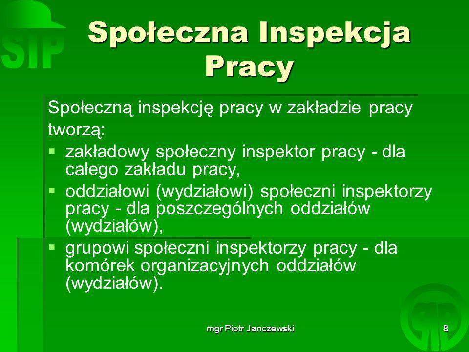 mgr Piotr Janczewski19 Odpowiedzialność za naruszenie przepisów o społecznej inspekcji pracy.