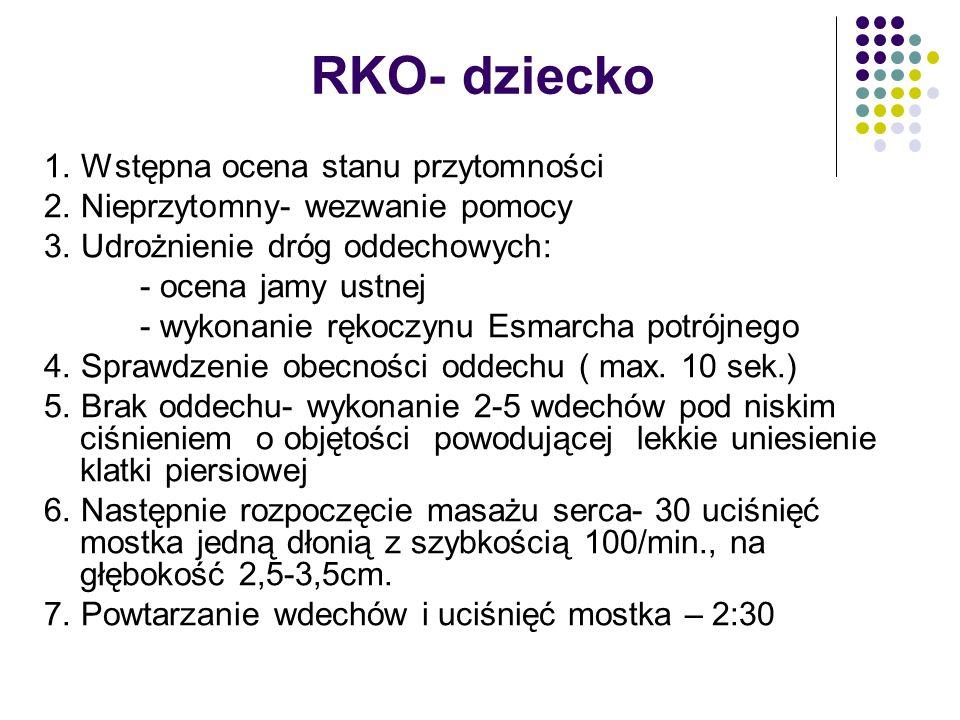 RKO- dziecko 1. Wstępna ocena stanu przytomności 2. Nieprzytomny- wezwanie pomocy 3. Udrożnienie dróg oddechowych: - ocena jamy ustnej - wykonanie ręk