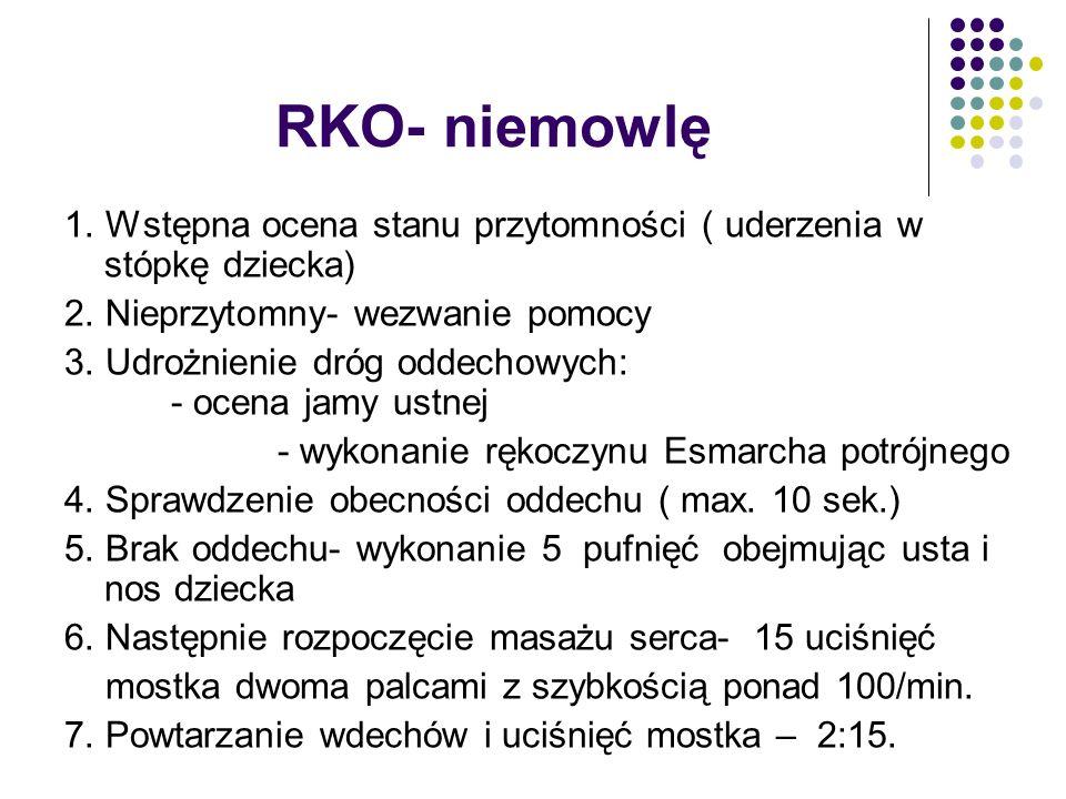 RKO- niemowlę 1. Wstępna ocena stanu przytomności ( uderzenia w stópkę dziecka) 2. Nieprzytomny- wezwanie pomocy 3. Udrożnienie dróg oddechowych: - oc