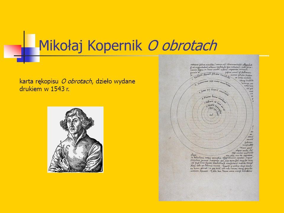 Mikołaj Kopernik O obrotach karta rękopisu O obrotach, dzieło wydane drukiem w 1543 r.