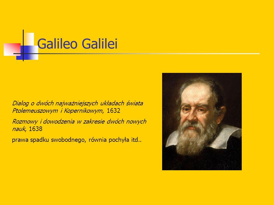 Galileo Galilei Dialog o dwóch najważniejszych układach świata Ptolemeuszowym i Kopernikowym, 1632 Rozmowy i dowodzenia w zakresie dwóch nowych nauk,