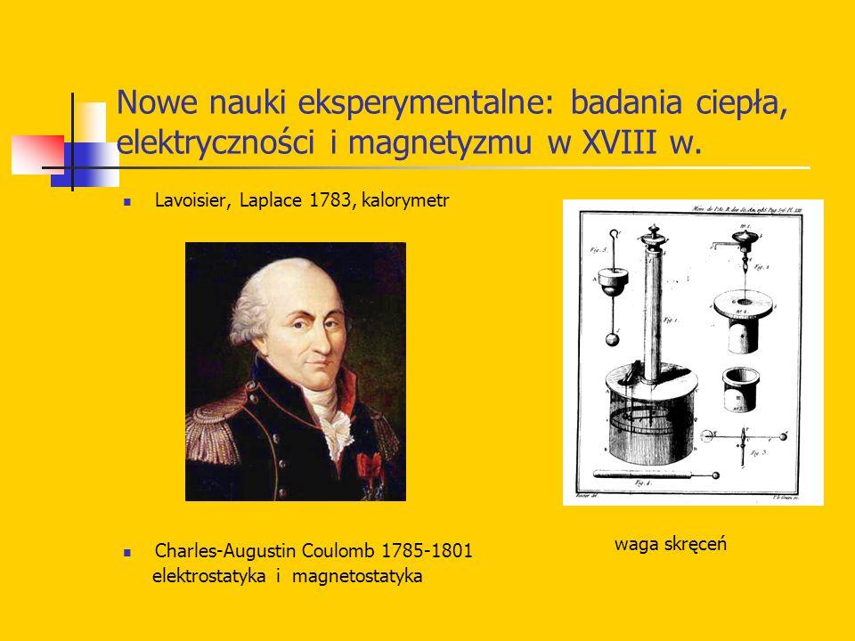 Nowe nauki eksperymentalne: badania ciepła, elektryczności i magnetyzmu w XVIII w. Lavoisier, Laplace 1783, kalorymetr Charles-Augustin Coulomb 1785-1