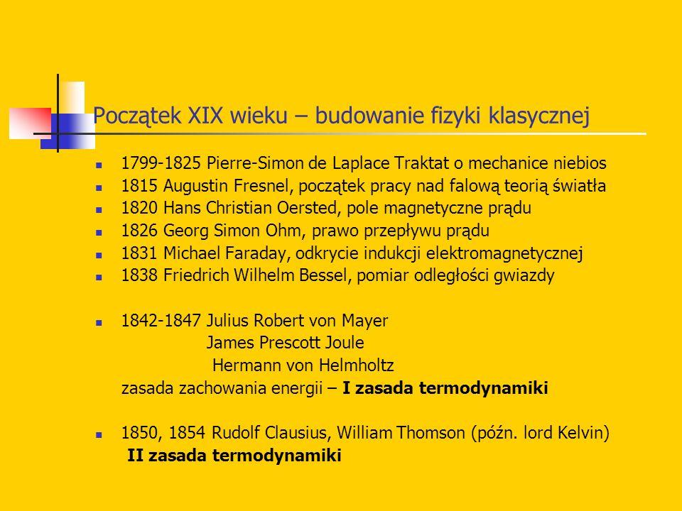 Początek XIX wieku – budowanie fizyki klasycznej 1799-1825 Pierre-Simon de Laplace Traktat o mechanice niebios 1815 Augustin Fresnel, początek pracy n
