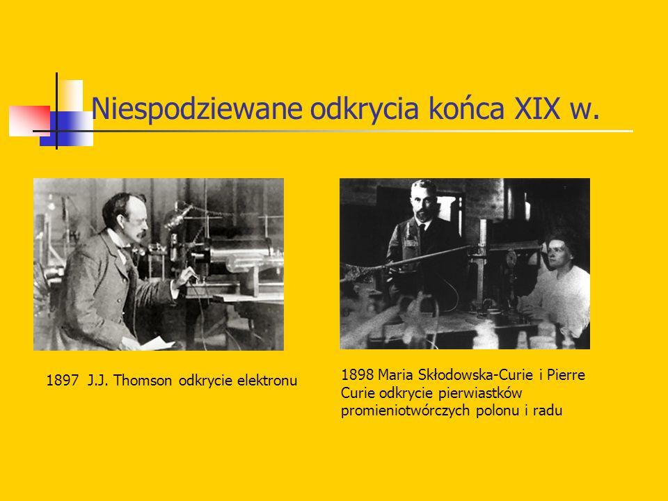 Niespodziewane odkrycia końca XIX w. 1897 J.J. Thomson odkrycie elektronu 1898 Maria Skłodowska-Curie i Pierre Curie odkrycie pierwiastków promieniotw