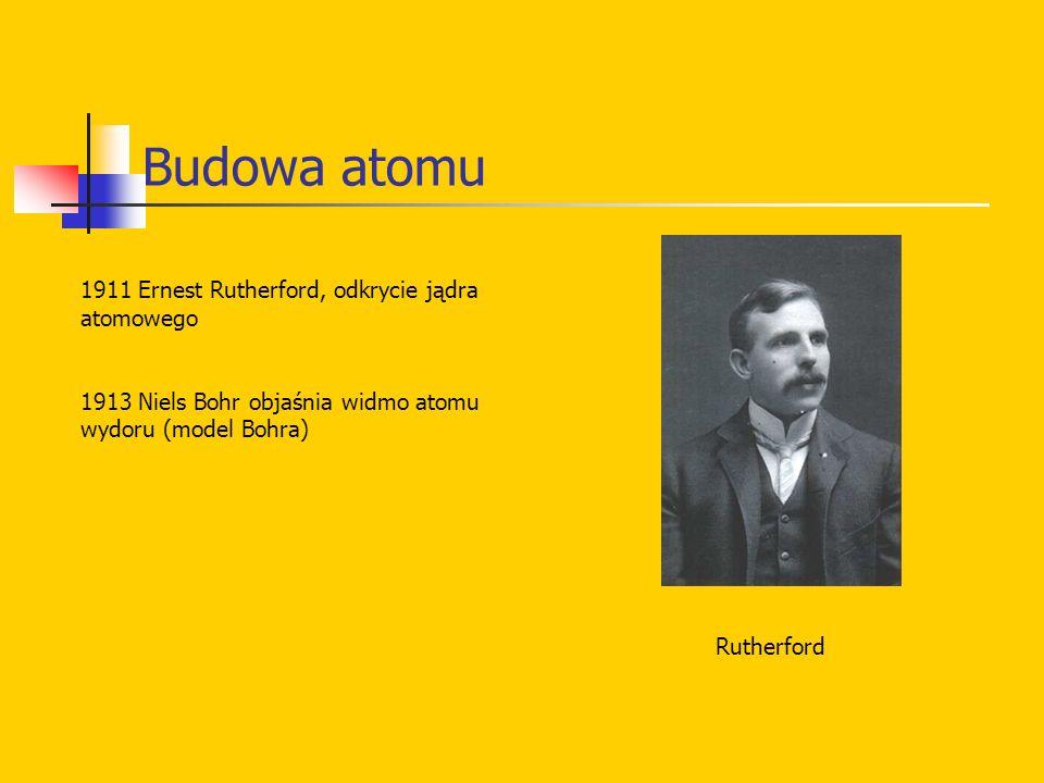 Budowa atomu 1911 Ernest Rutherford, odkrycie jądra atomowego 1913 Niels Bohr objaśnia widmo atomu wydoru (model Bohra) Rutherford
