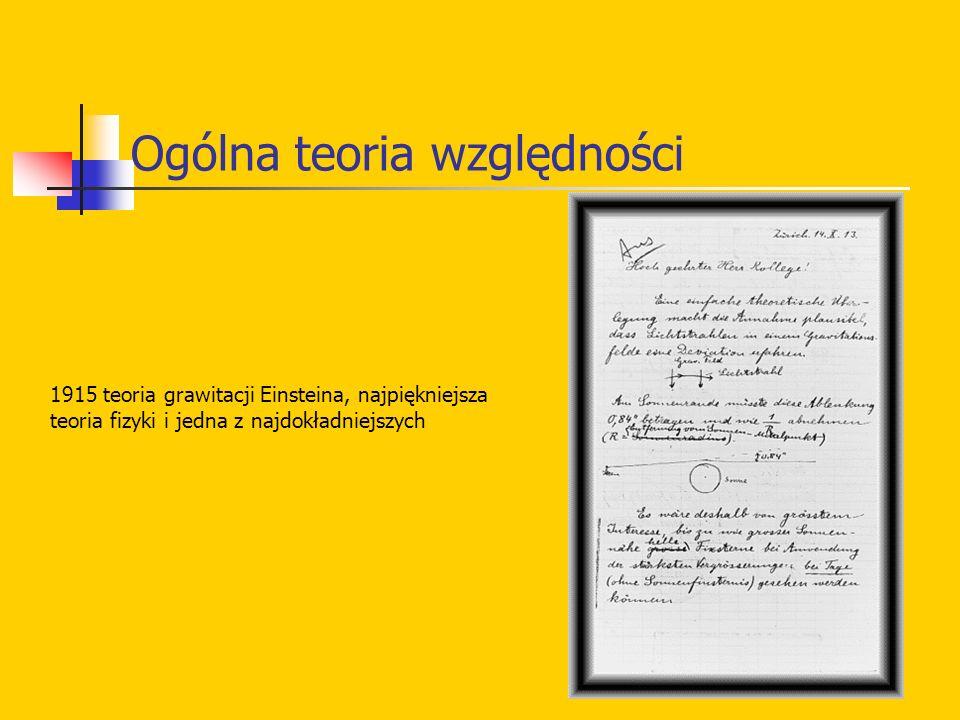 Ogólna teoria względności 1915 teoria grawitacji Einsteina, najpiękniejsza teoria fizyki i jedna z najdokładniejszych