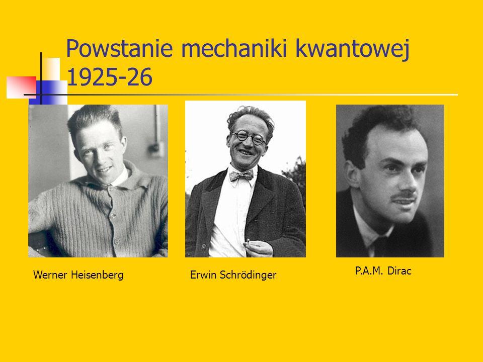 Powstanie mechaniki kwantowej 1925-26 Werner HeisenbergErwin Schrödinger P.A.M. Dirac