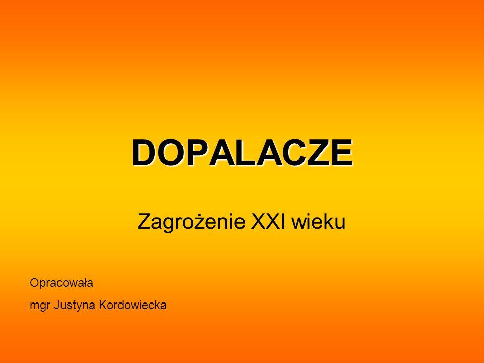 DOPALACZE Zagrożenie XXI wieku Opracowała mgr Justyna Kordowiecka