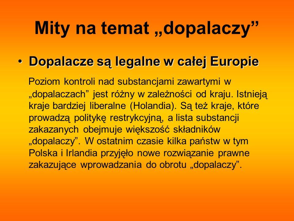 Mity na temat dopalaczy Dopalacze są legalne w całej EuropieDopalacze są legalne w całej Europie Poziom kontroli nad substancjami zawartymi w dopalacz