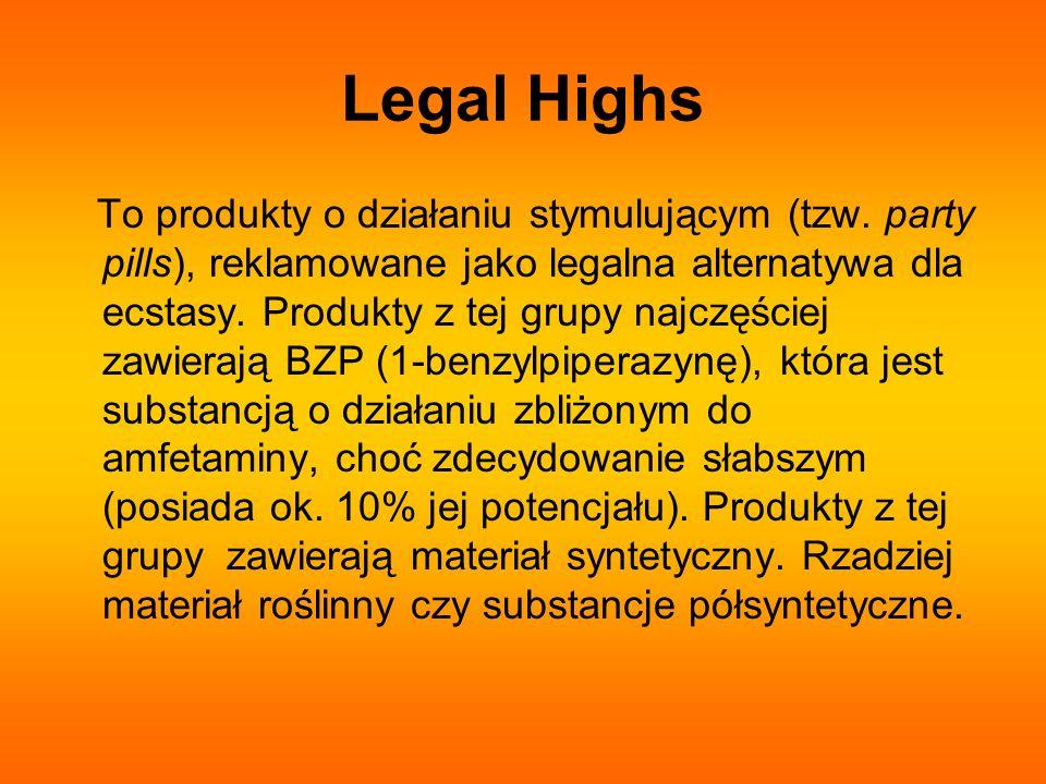 Legal Highs To produkty o działaniu stymulującym (tzw. party pills), reklamowane jako legalna alternatywa dla ecstasy. Produkty z tej grupy najczęście