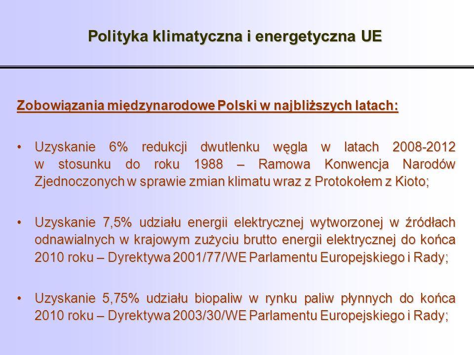 Polityka klimatyczna i energetyczna UE Zobowiązania międzynarodowe Polski w najbliższych latach: Uzyskanie 6% redukcji dwutlenku węgla w latach 2008-2
