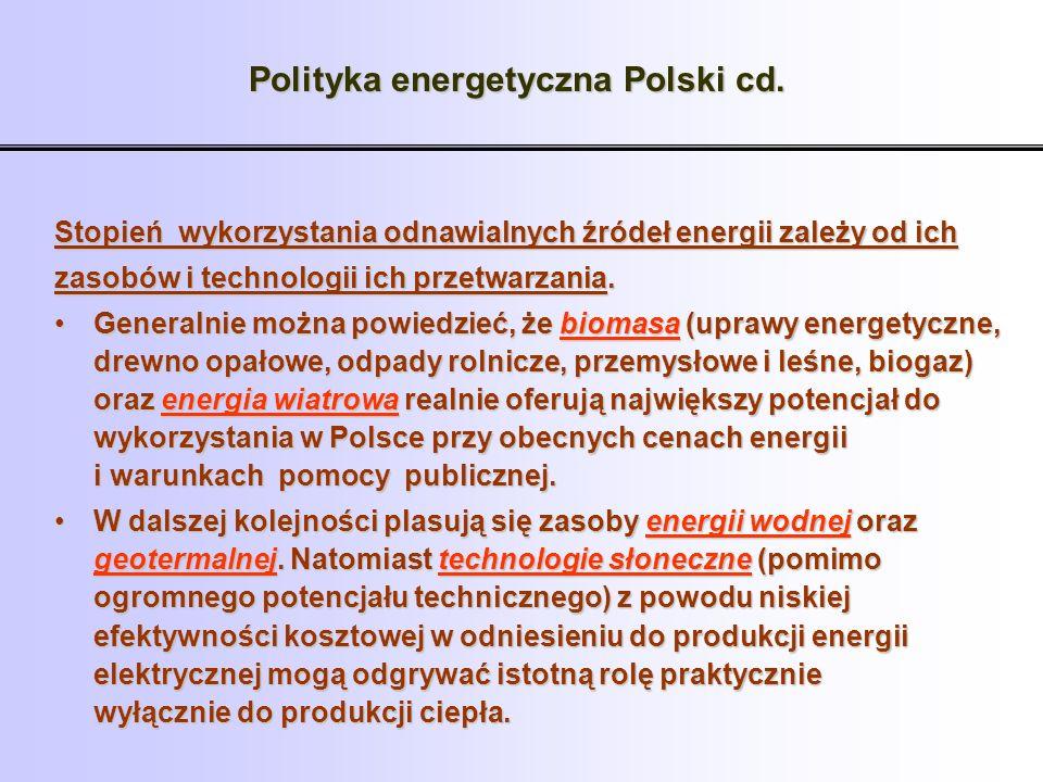 Polityka energetyczna Polski cd. Stopień wykorzystania odnawialnych źródeł energii zależy od ich zasobów i technologii ich przetwarzania. Generalnie m