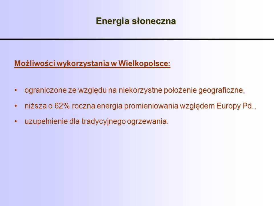 Energia słoneczna Możliwości wykorzystania w Wielkopolsce: ograniczone ze względu na niekorzystne położenie geograficzne,ograniczone ze względu na nie