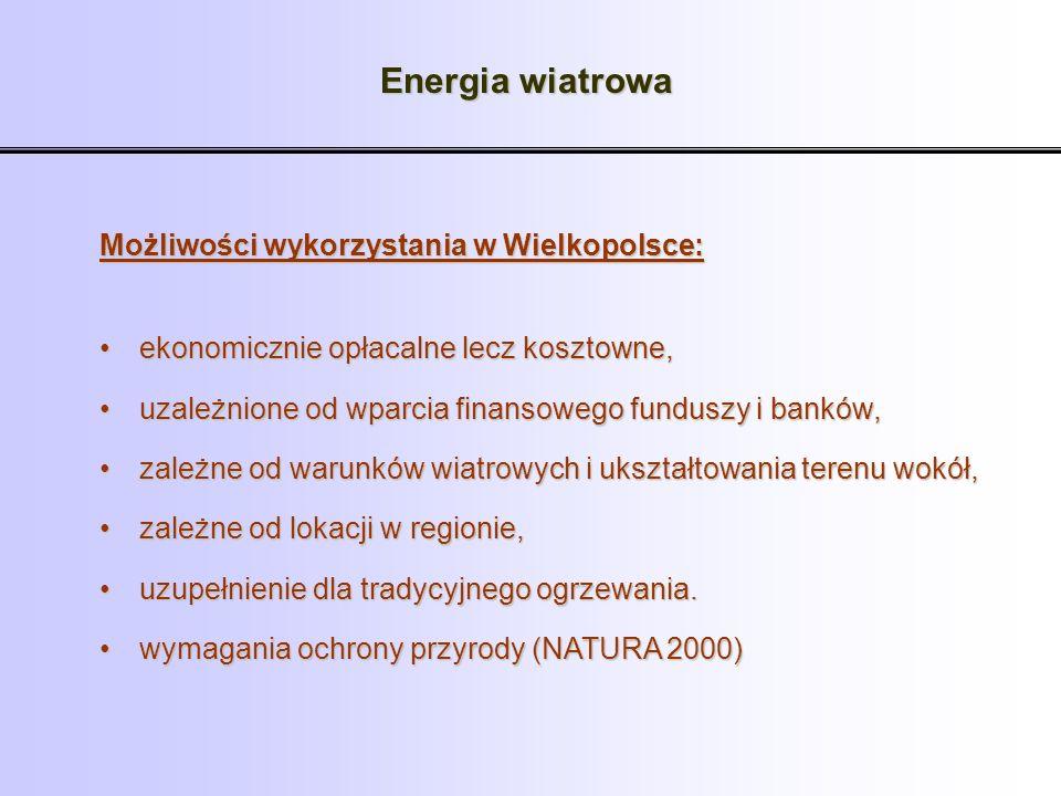Energia wiatrowa Możliwości wykorzystania w Wielkopolsce: ekonomicznie opłacalne lecz kosztowne,ekonomicznie opłacalne lecz kosztowne, uzależnione od