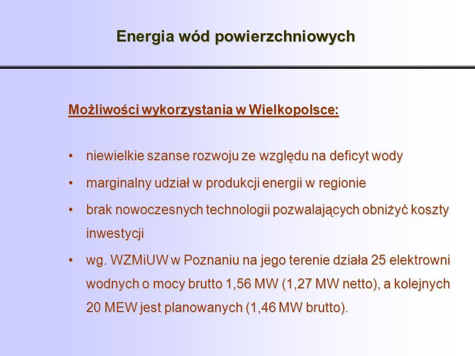 Energia wód powierzchniowych Możliwości wykorzystania w Wielkopolsce: niewielkie szanse rozwoju ze względu na deficyt wodyniewielkie szanse rozwoju ze