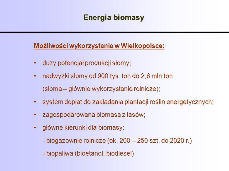 Energia biomasy Możliwości wykorzystania w Wielkopolsce: duży potencjał produkcji słomy;duży potencjał produkcji słomy; nadwyżki słomy od 900 tys. ton