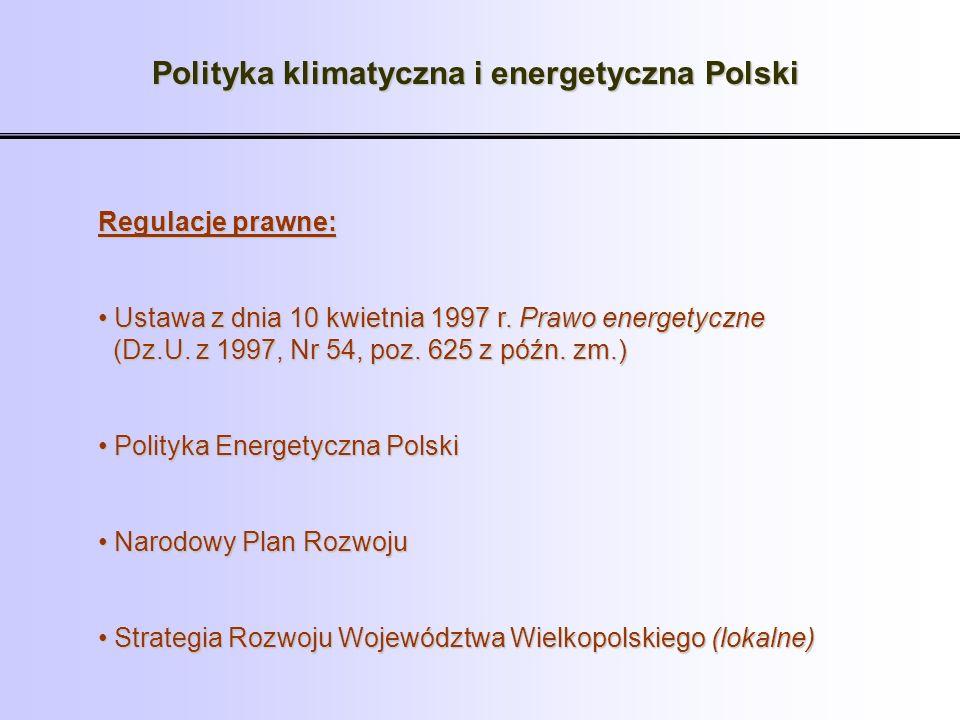 Polityka klimatyczna i energetyczna Polski Regulacje prawne: Ustawa z dnia 10 kwietnia 1997 r. Prawo energetyczne (Dz.U. z 1997, Nr 54, poz. 625 z póź